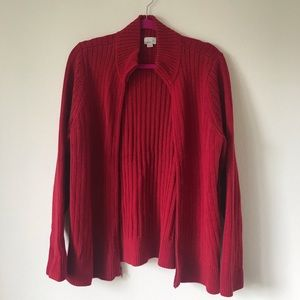 Caslon Red Ribbed Zip-Up Sweater